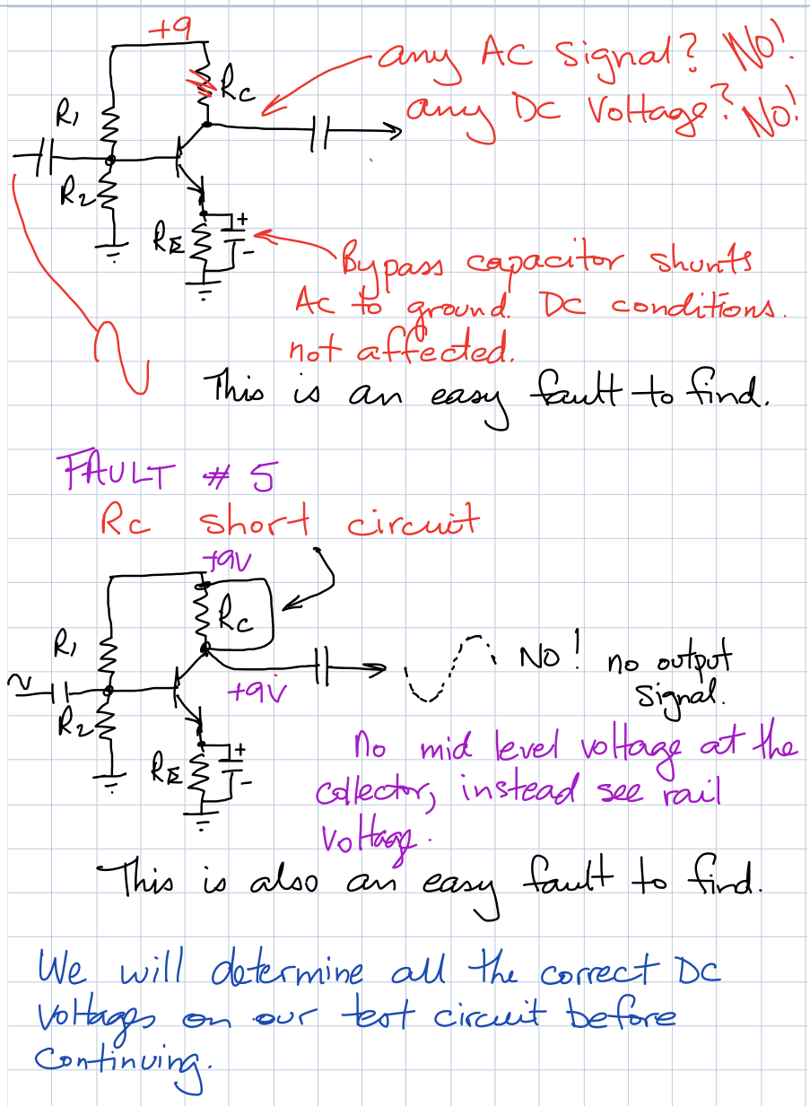 transistor faults RC open circuit