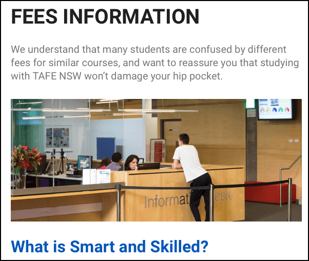 TAFE NSW Fee information