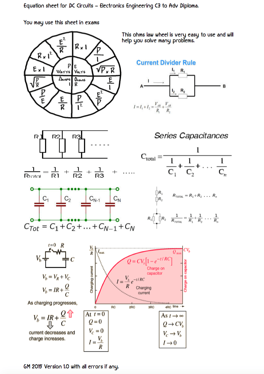 Equation Sheet For Dc Circuits Voltage Divider Circuit Calculator Ldr