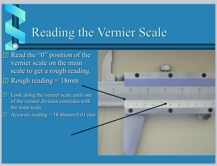 Reading the vernier scale