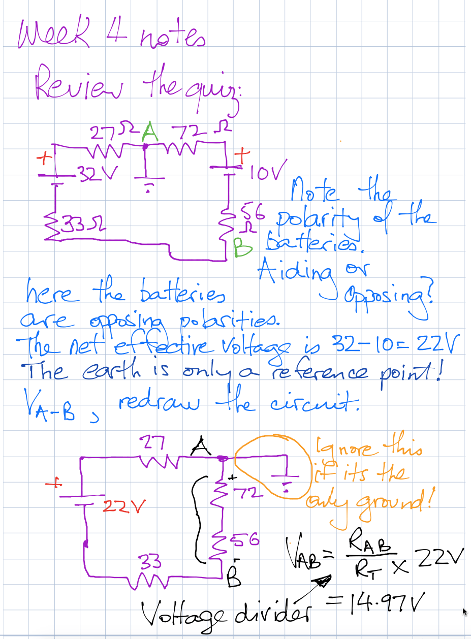 Dc Circuits Week 4 Potential Divider Ii Activity Two Voltage Sources Notes