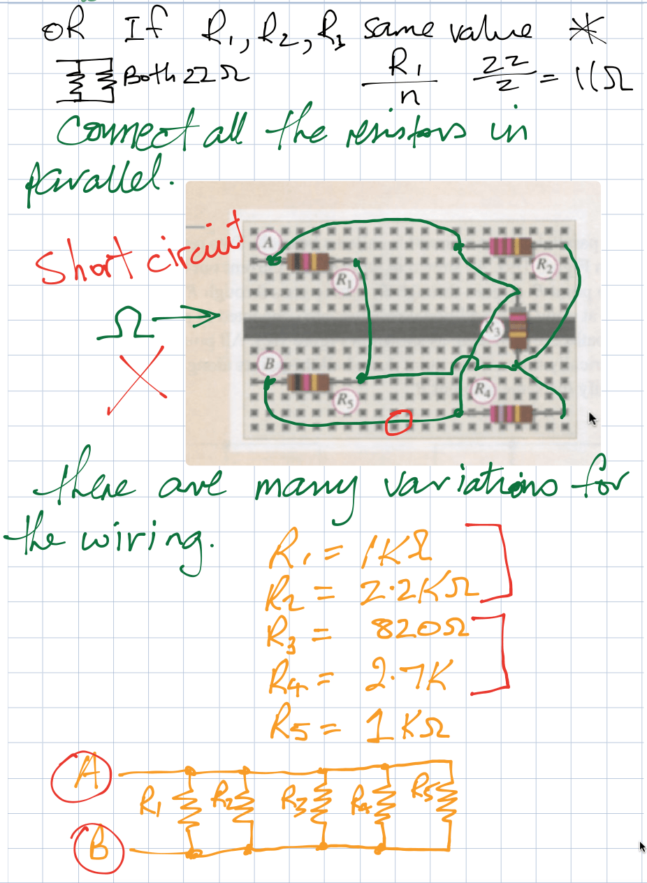 Breadboard with mixed resistors notes
