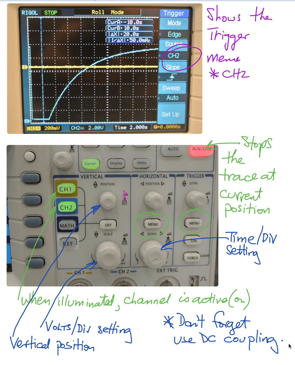 DC questions notes RC waveforms Rigol