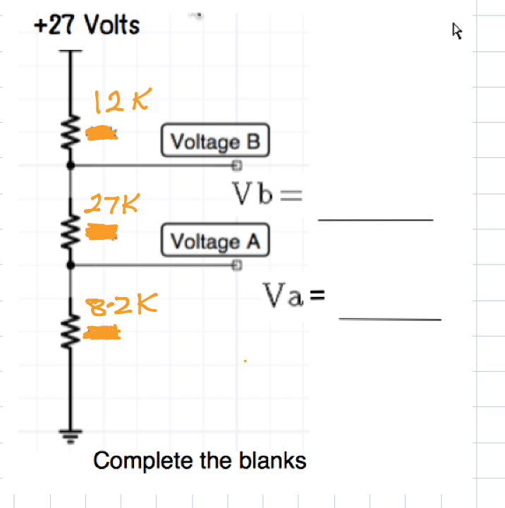DC circuits revision question voltage divider