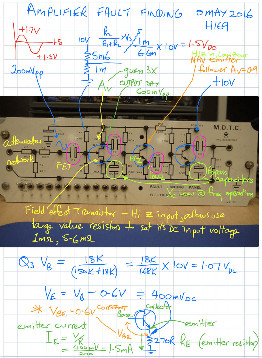 solve probs week 7 Amplifier fault finding part 1a